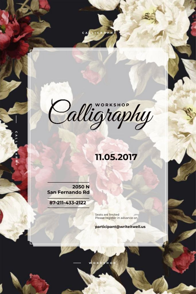 Calligraphy workshop Announcement with flowers — Maak een ontwerp