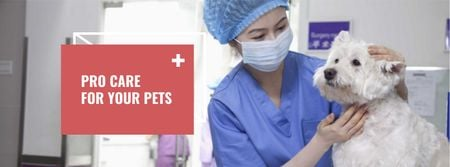 Vet Clinic Ad Doctor Holding Dog Facebook coverデザインテンプレート