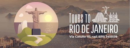 Rio dew Janeiro famous travelling spots Facebook Video cover Modelo de Design