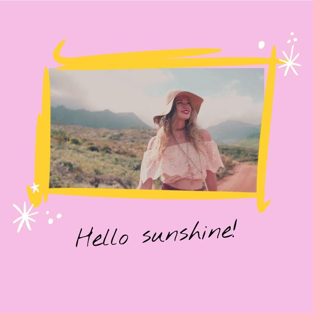 Cute Girl walking in Summer Valley Animated Post Design Template