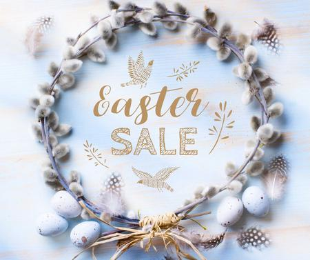 Easter sale in Wreath with eggs Facebookデザインテンプレート
