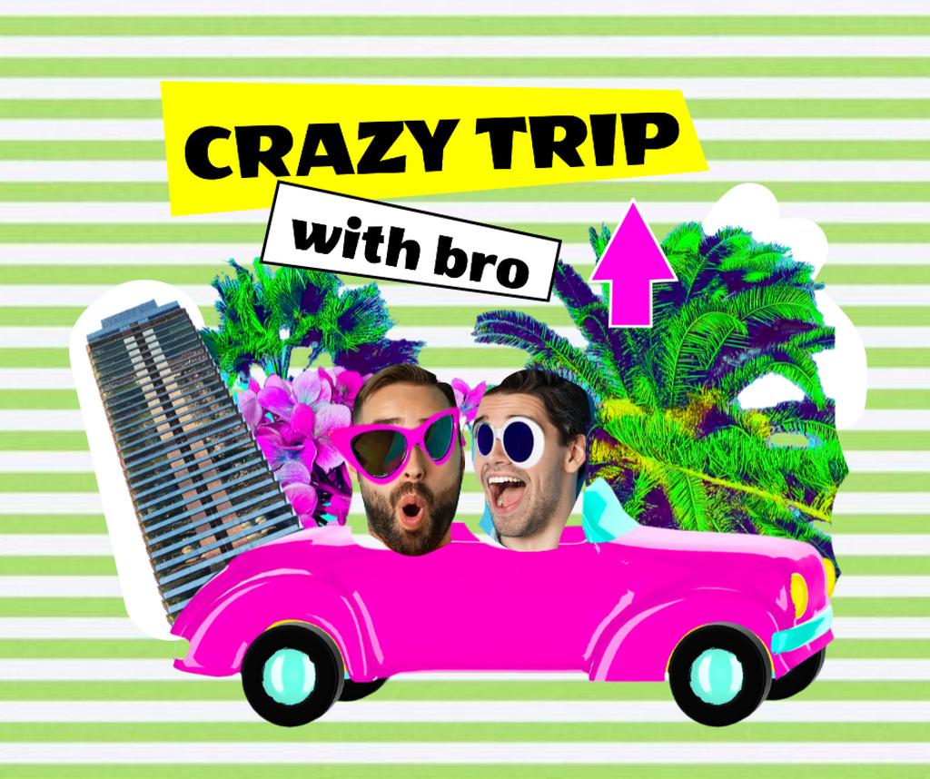 Funny Illustration of Dudes in Bright Car Facebook – шаблон для дизайна