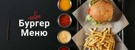 Fast Food Menu offer Burger and French Fries Facebook cover – шаблон для дизайна