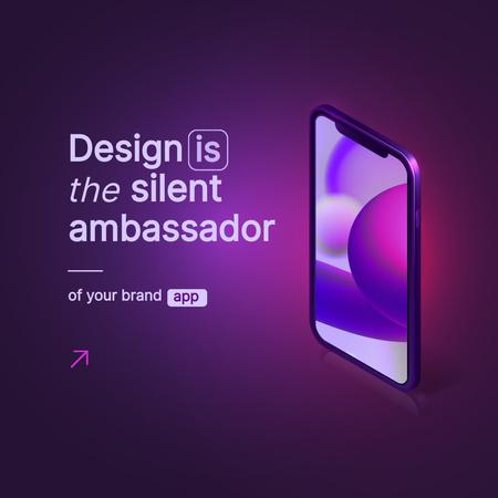 App Design Ad with Modern Smartphone Instagram Modelo de Design