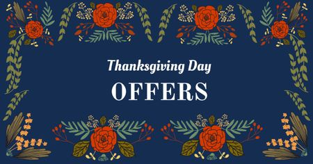 Thanksgiving Day Offers in Floral Frame Facebook AD Modelo de Design