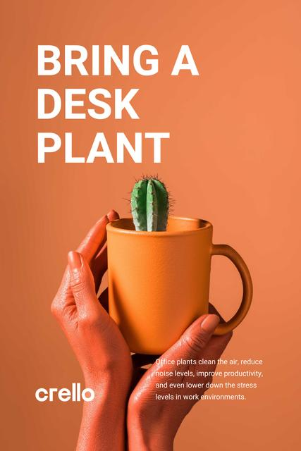 Ecology Concept Hands with Cactus in Cup Pinterest – шаблон для дизайна