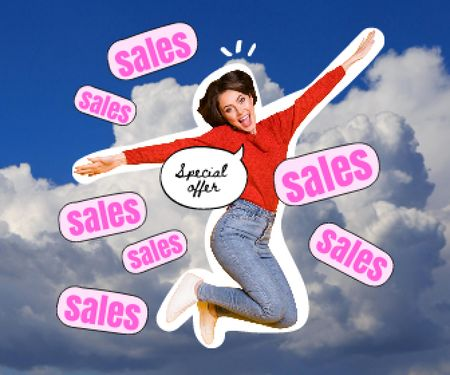 Sale Announcement with Funny flying Woman Large Rectangle Design Template