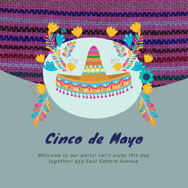 Cynco de Mayo Mexican holiday with Bright Sombrero Animated Post Modelo de Design