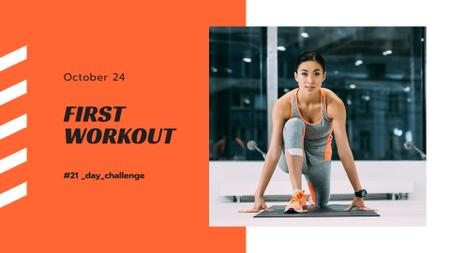 Designvorlage Workout Offer with Woman in Gym für FB event cover