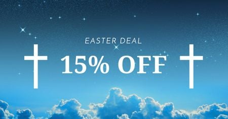 Szablon projektu Easter Offer with Crosses in Heaven Facebook AD