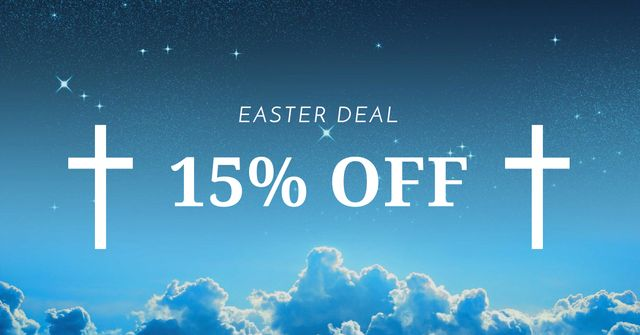 Easter Offer with Crosses in Heaven Facebook AD Design Template