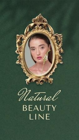 Plantilla de diseño de Beauty Ad with Young Woman holding Flower Instagram Video Story