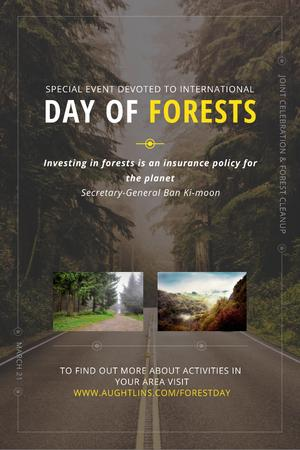 Plantilla de diseño de International Day of Forests Event with Forest Road View Pinterest