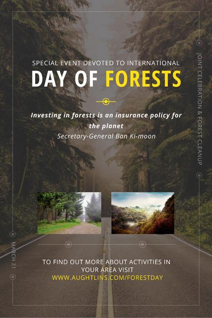 International Day of Forests Event with Forest Road View Pinterest Tasarım Şablonu