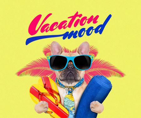 Modèle de visuel Funny Dog in Sunglasses on Vacation - Facebook