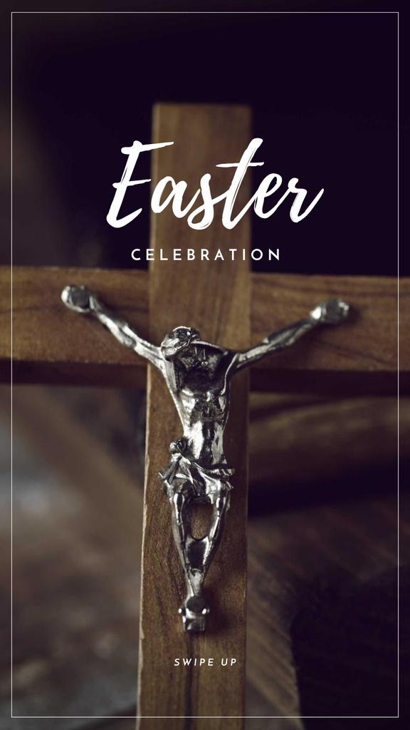 Easter Celebration Announcement with Wooden Cross Instagram Story – шаблон для дизайну