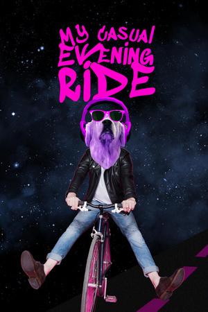 Modèle de visuel Funny Dog in Sunglasses riding Bicycle - Pinterest
