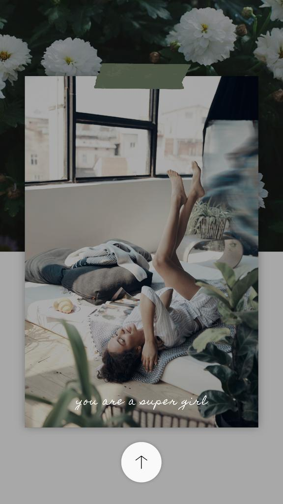 8 March Greeting Happy Woman Lying in Bed — Crea un design