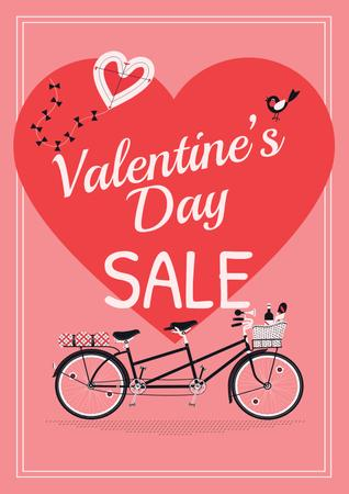 Valentine's day sale with Romantic bike Poster – шаблон для дизайна