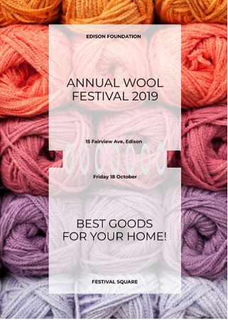 Knitting Festival Wool Yarn Skeins Invitation Tasarım Şablonu