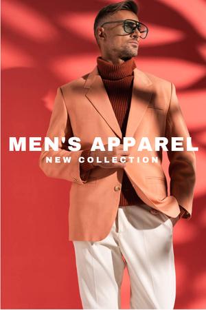 Template di design Man in stylish costume and glasses Pinterest