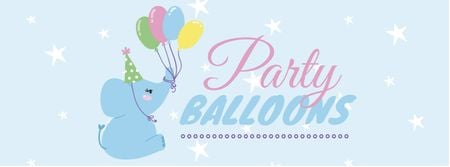 Modèle de visuel Party Balloons Offer with Cute Elephant - Facebook cover