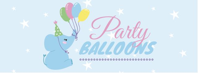 Designvorlage Party Balloons Offer with Cute Elephant für Facebook cover
