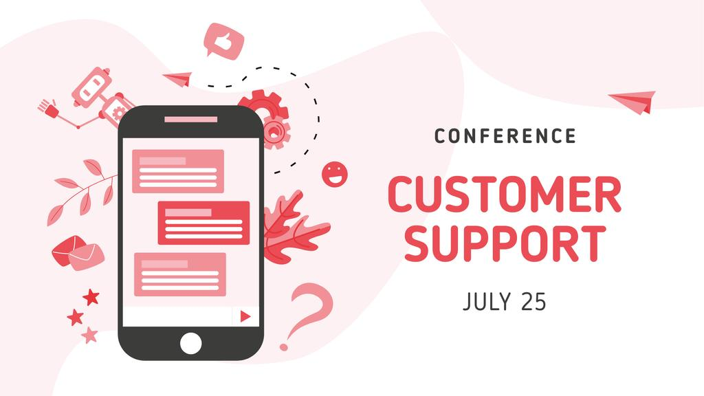 Customer Support Conference with Chat on Phonescreen FB event cover – шаблон для дизайну