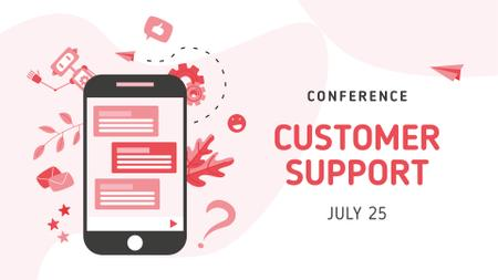 Customer Support Conference with Chat on Phonescreen FB event cover Modelo de Design