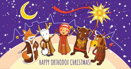 Template di design Orthodox Christmas with Funny Characters Facebook AD