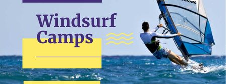 Ontwerpsjabloon van Facebook cover van Windsurf Camps Ad with Man riding Board