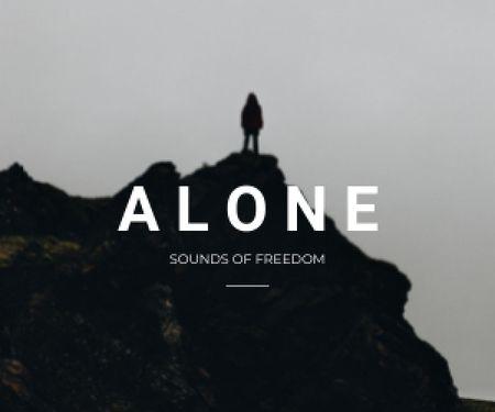Freedom Inspiration with Man on Dark Hill Medium Rectangle Design Template
