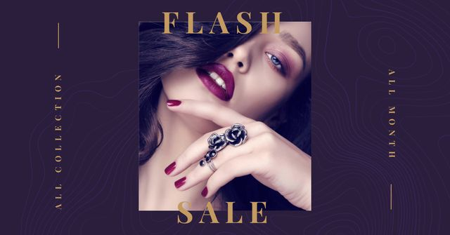 Fashion Sale Ad with Girl in Beautiful Ring Facebook AD Design Template