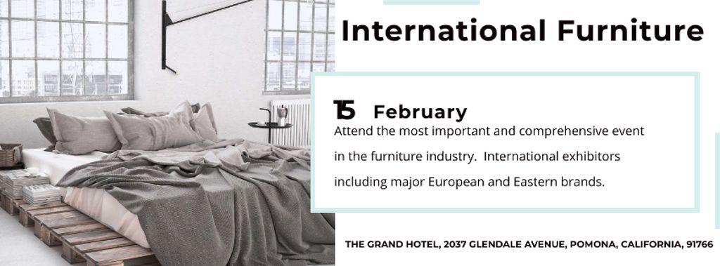 Furniture Store Ad with Bedroom in Grey Color — Créer un visuel