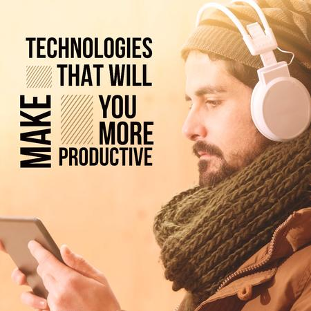Man in headphones watching video on the tablet Instagram Modelo de Design