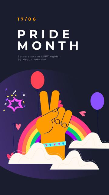 Modèle de visuel Pride Month Hand Gesturing over Rainbow - Instagram Video Story
