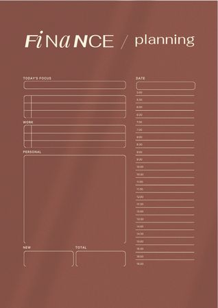 Plantilla de diseño de Daily Finance Planning Schedule Planner