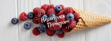 Raspberries and blueberries in cone Facebook cover – шаблон для дизайна