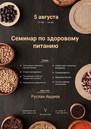Seminar Annoucement with Healthy Nutrition Dishes on table Poster – шаблон для дизайна