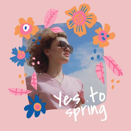 Stylish Girl in Spring Animated Post Tasarım Şablonu