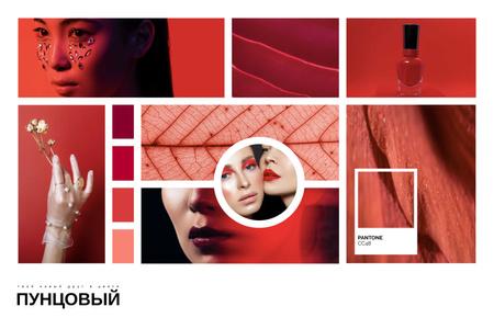 Creative Makeup inspiration in Red Mood Board – шаблон для дизайна