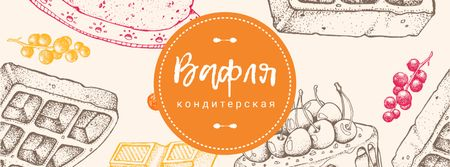 Confectionery Waffles and Cakes Sketches Facebook cover – шаблон для дизайна