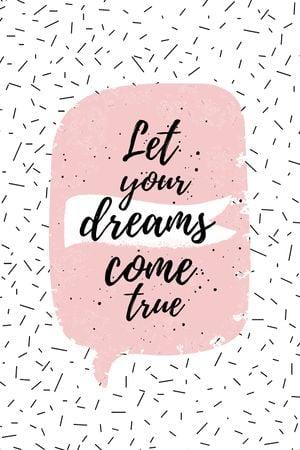 Dreams Quote on pink Tumblr tervezősablon