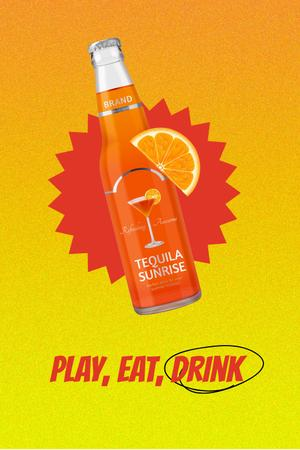 Template di design Tequila Drink in Bottle with Orange Slice Pinterest