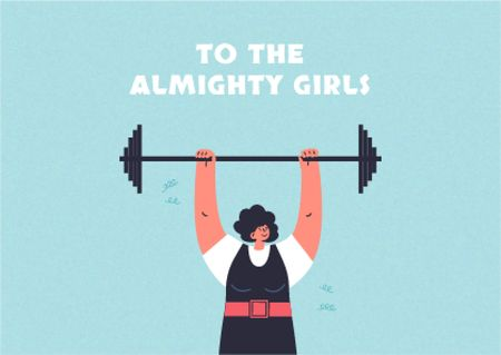 Plantilla de diseño de Girl Power Inspiration with Woman holding Barbell Card