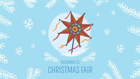 Plantilla de diseño de Orthodox Christmas Fair Announcement with Festive Star FB event cover