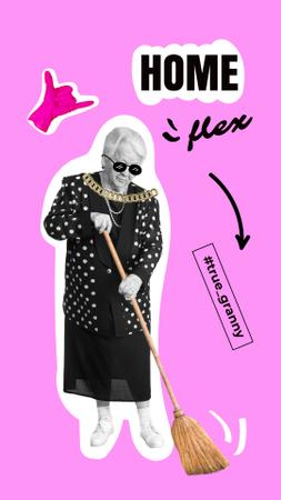 Template di design Old Stylish Woman sweeping up with Broom Instagram Story
