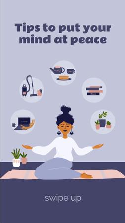Ontwerpsjabloon van Instagram Story van Woman meditating at Home