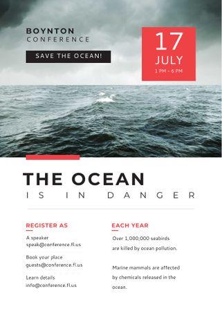 Modèle de visuel Ecology Conference Stormy Sea Waves - Flayer