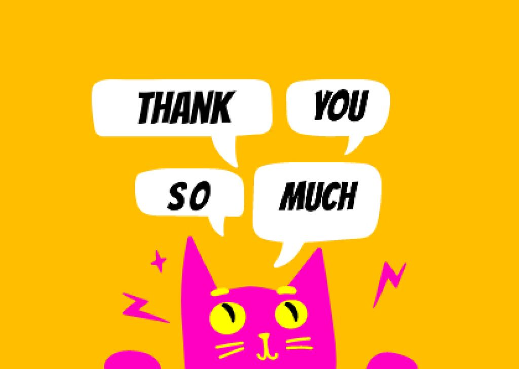 Thankful Phrase with Cute Pink Cat Card – шаблон для дизайна